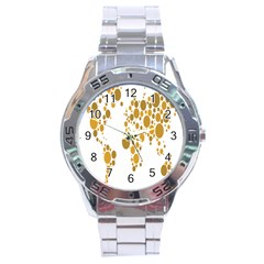 Map Dotted Gold Circle Stainless Steel Analogue Watch by Alisyart