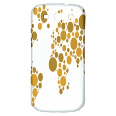 Map Dotted Gold Circle Samsung Galaxy S3 S Iii Classic Hardshell Back Case