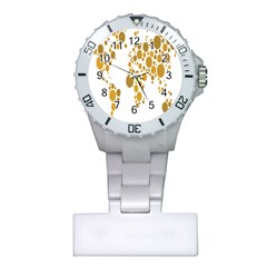 Map Dotted Gold Circle Plastic Nurses Watch by Alisyart