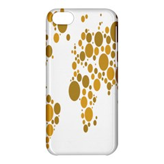 Map Dotted Gold Circle Apple Iphone 5c Hardshell Case