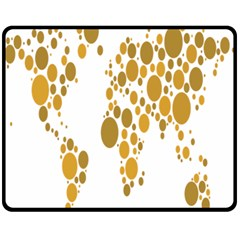 Map Dotted Gold Circle Double Sided Fleece Blanket (medium)  by Alisyart
