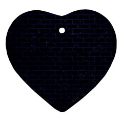 Brick1 Black Marble & Blue Leather Ornament (heart) by trendistuff