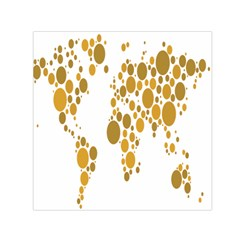 Map Dotted Gold Circle Small Satin Scarf (square) by Alisyart