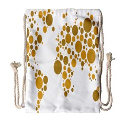 Map Dotted Gold Circle Drawstring Bag (large) by Alisyart