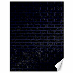 Brick1 Black Marble & Blue Leather Canvas 36  X 48