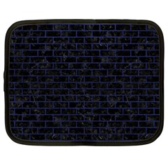 Brick1 Black Marble & Blue Leather Netbook Case (large) by trendistuff