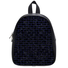Brick1 Black Marble & Blue Leather School Bag (small) by trendistuff