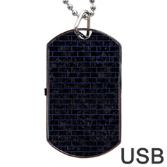 Brick1 Black Marble & Blue Leather Dog Tag Usb Flash (two Sides) by trendistuff