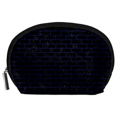 Brick1 Black Marble & Blue Leather Accessory Pouch (large) by trendistuff