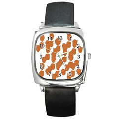 Machovka Autumn Leaves Brown Square Metal Watch by Alisyart