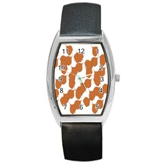Machovka Autumn Leaves Brown Barrel Style Metal Watch by Alisyart