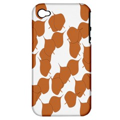 Machovka Autumn Leaves Brown Apple Iphone 4/4s Hardshell Case (pc+silicone) by Alisyart