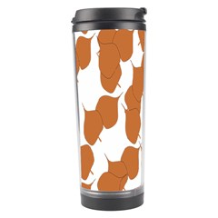 Machovka Autumn Leaves Brown Travel Tumbler by Alisyart