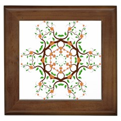 Floral Tree Leaf Flower Star Framed Tiles by Alisyart