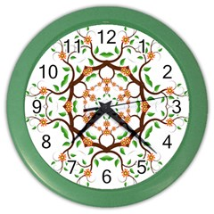 Floral Tree Leaf Flower Star Color Wall Clocks by Alisyart