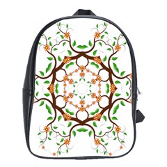 Floral Tree Leaf Flower Star School Bags(large)