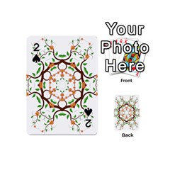 Floral Tree Leaf Flower Star Playing Cards 54 (mini)  by Alisyart