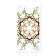 Floral Tree Leaf Flower Star Apple Iphone 4 Case (white)