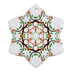 Floral Tree Leaf Flower Star Snowflake Ornament (two Sides)