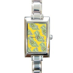 Money Dollar $ Sign Green Yellow Rectangle Italian Charm Watch by Alisyart
