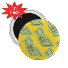 Money Dollar $ Sign Green Yellow 2 25  Magnets (10 Pack)  by Alisyart