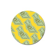 Money Dollar $ Sign Green Yellow Magnet 3  (round) by Alisyart