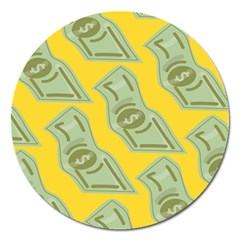 Money Dollar $ Sign Green Yellow Magnet 5  (round) by Alisyart