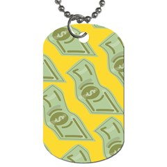 Money Dollar $ Sign Green Yellow Dog Tag (two Sides) by Alisyart