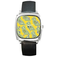 Money Dollar $ Sign Green Yellow Square Metal Watch by Alisyart