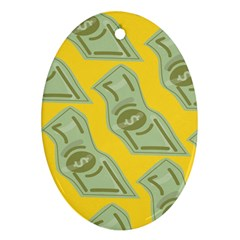 Money Dollar $ Sign Green Yellow Oval Ornament (two Sides) by Alisyart