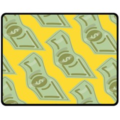 Money Dollar $ Sign Green Yellow Fleece Blanket (medium)  by Alisyart