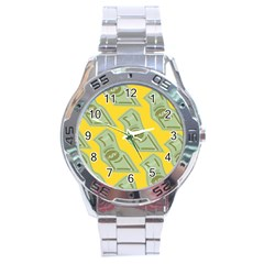Money Dollar $ Sign Green Yellow Stainless Steel Analogue Watch by Alisyart