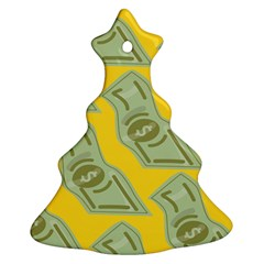 Money Dollar $ Sign Green Yellow Christmas Tree Ornament (two Sides) by Alisyart