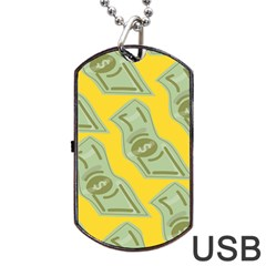 Money Dollar $ Sign Green Yellow Dog Tag Usb Flash (one Side) by Alisyart