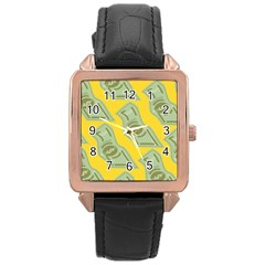 Money Dollar $ Sign Green Yellow Rose Gold Leather Watch  by Alisyart