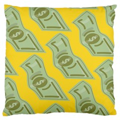 Money Dollar $ Sign Green Yellow Large Flano Cushion Case (two Sides) by Alisyart