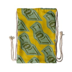 Money Dollar $ Sign Green Yellow Drawstring Bag (small) by Alisyart