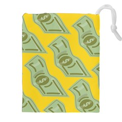 Money Dollar $ Sign Green Yellow Drawstring Pouches (xxl) by Alisyart