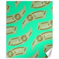 Money Dollar $ Sign Green Canvas 11  X 14   by Alisyart