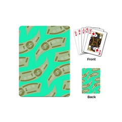 Money Dollar $ Sign Green Playing Cards (mini)  by Alisyart