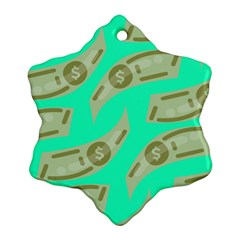 Money Dollar $ Sign Green Snowflake Ornament (two Sides) by Alisyart