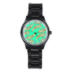 Money Dollar $ Sign Green Stainless Steel Round Watch by Alisyart