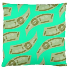 Money Dollar $ Sign Green Large Flano Cushion Case (one Side)