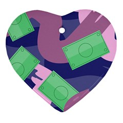 Money Dollar Green Purple Pink Ornament (heart) by Alisyart
