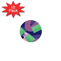 Money Dollar Green Purple Pink 1  Mini Buttons (10 Pack)  by Alisyart