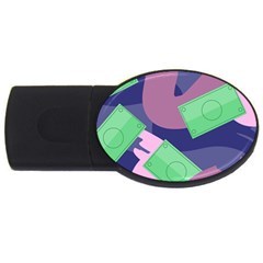 Money Dollar Green Purple Pink Usb Flash Drive Oval (4 Gb) by Alisyart