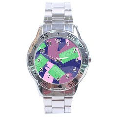 Money Dollar Green Purple Pink Stainless Steel Analogue Watch by Alisyart