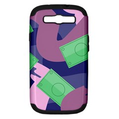 Money Dollar Green Purple Pink Samsung Galaxy S Iii Hardshell Case (pc+silicone) by Alisyart