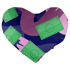 Money Dollar Green Purple Pink Large 19  Premium Heart Shape Cushions by Alisyart
