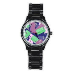 Money Dollar Green Purple Pink Stainless Steel Round Watch by Alisyart
